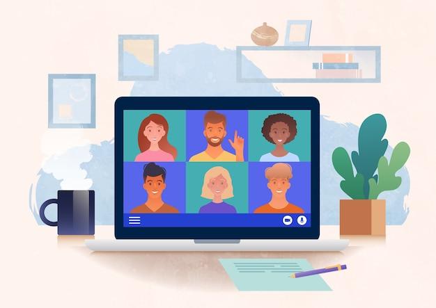 가상 그룹 회의는 동료 온라인 일러스트레이션과 채팅하는 랩톱 컴퓨터를 사용하여 집에서 화상 회의를 통해 개최됩니다.