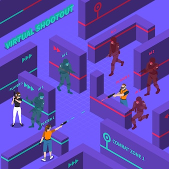Virtual gun battles isometric illustration