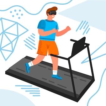 Концепция иллюстрации виртуального спортзала