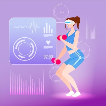 Virtual gym illustration concept