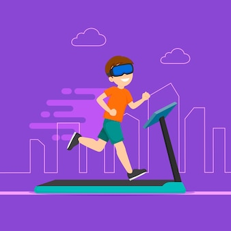 Virtual gym man running
