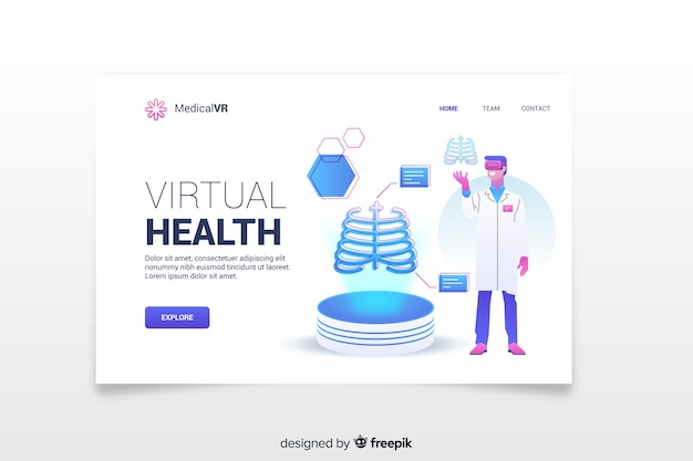 Virtual health landing page template