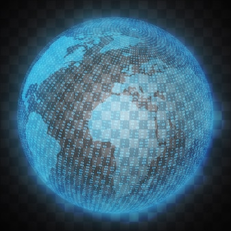 Virtual hologram  of the planet earth