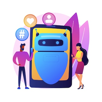 Illustrazione di concetto astratto di influencer virtuale. influencer marketing, servizio di agenzia digitale, personaggio virtuale, persona generata dal computer, social media, avatar del marchio.