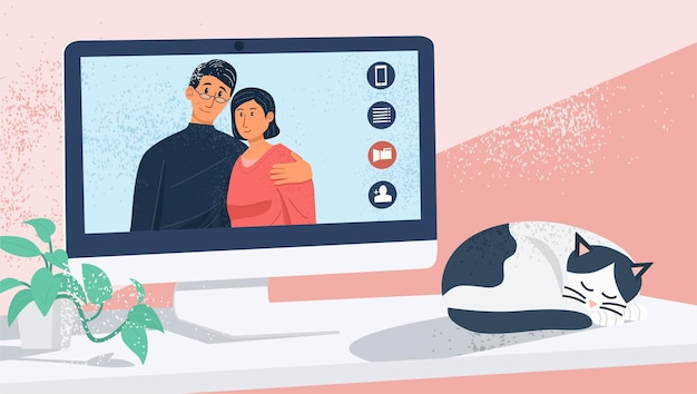 Virtual interaction concept, couple having videocall at home.