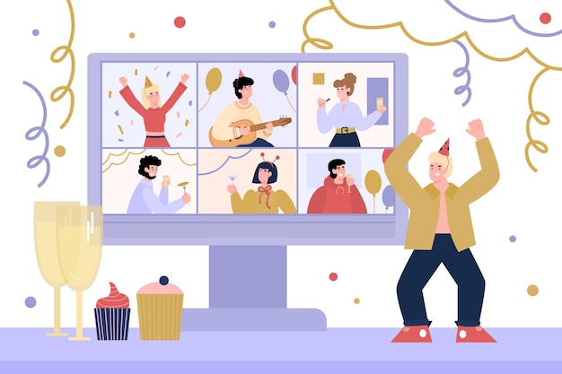 Virtual internet party with man dancing near computer vector illustration