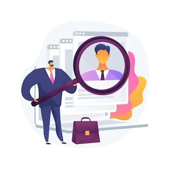 バーチャル就職説明会の抽象的な概念図。バーチャル人材紹介会社、オンライン採用イベント、デジタル時間、求人、求人フェアのウェブサイト、プロとしてのキャリアの構築