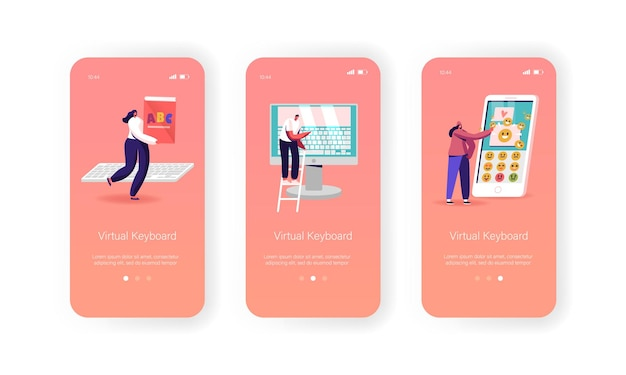 Virtual keyboard mobile app page onboard screen template