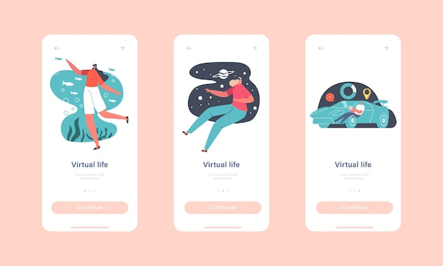 Virtual life mobile app page onboard screen template. characters use vr glasses for augmented reality experience. people in goggles drive car, space, ocean travel concept. cartoon vector illustration