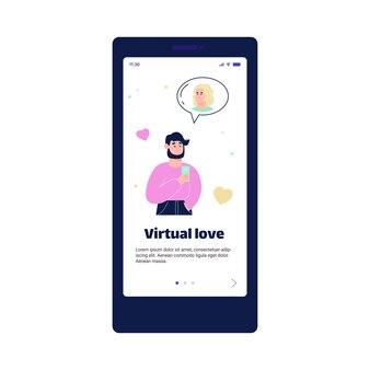 가상 사랑과 온라인 데이트 앱 페이지 만화 그림