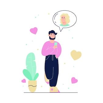 매력적인 여자와 채팅하는 남자 캐릭터와 가상 사랑과 온라인 데이트 개념