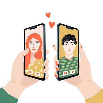 Концепция виртуальной любви онлайн-знакомства и социальные сети мужчина и женщина держат телефон