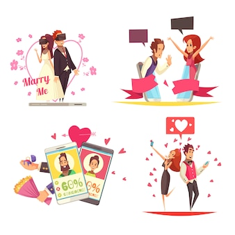 Virtual love design concept