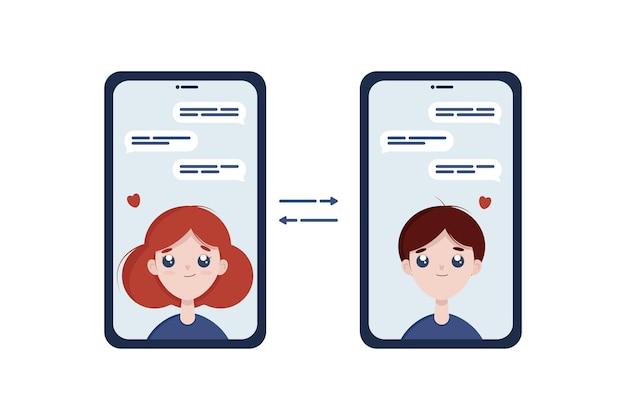 Виртуальная любовь плоская иллюстрация. женщина и мужчина болтают друг с другом.