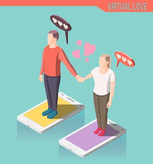 Virtual love isometric composition, man and woman standing on smart phone screen and holding hands