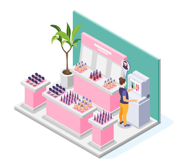 Virtual makeup illustration with view of beauty store with shop displays