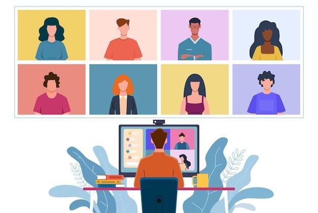 가상 회의. 집단 가정 화상 회의, 사람들과 온라인 채팅을 하는 남자. 친구 전자 학습 채팅, 동료 그룹 사무실 팀워크 벡터 개념과의 인터넷 통신과의 토론