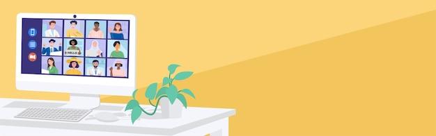 仮想会議のコンセプト、自宅で同僚とビデオ会議をしている人。