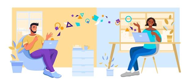 Иллюстрация виртуальной встречи с молодым веселым мужчиной и женщиной, чата онлайн дома