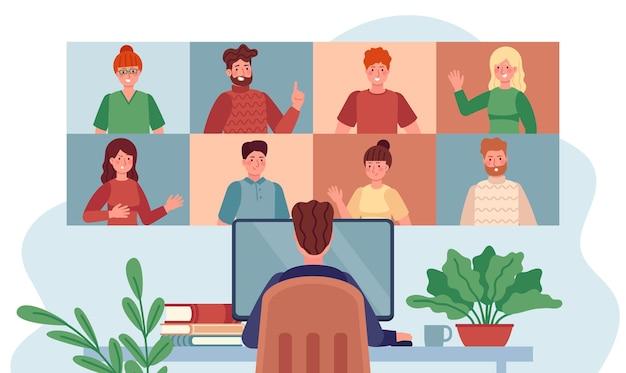 バーチャルミーティング。グループの人々とチャットする男性、コロナウイルスの間にリモートで働くオンライン会議、インターネットウェビナーフラットベクトルの概念。イラストビデオ通話、ウェブディスカッションチームワーク