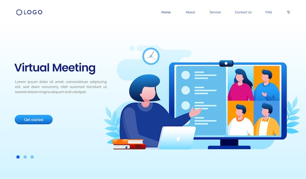Virtual meeting worker landing page website  template