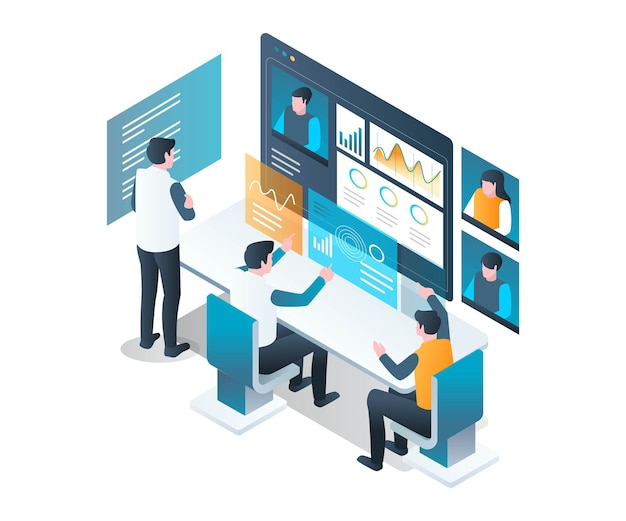 Virtual office working with video call in isometric design
