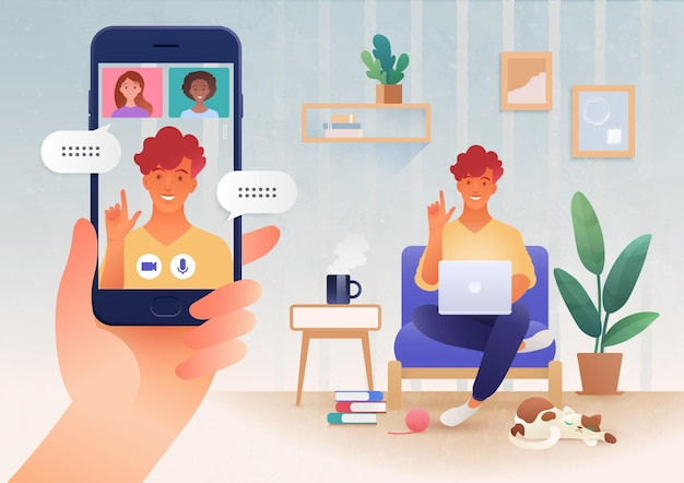 Virtual online communication via video call app between friends using smart devices illustration