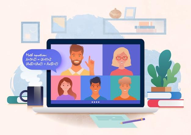 ビデオ会議通話を介して開催されている仮想オンライン調査。居心地の良い家で大学生にオンラインで教えるラップトップコンピューターを使用している教師。オンライン教育ベクトルイラスト。