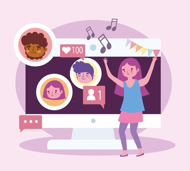 Virtual party, girl celebrating dancing with people on video call  illustration