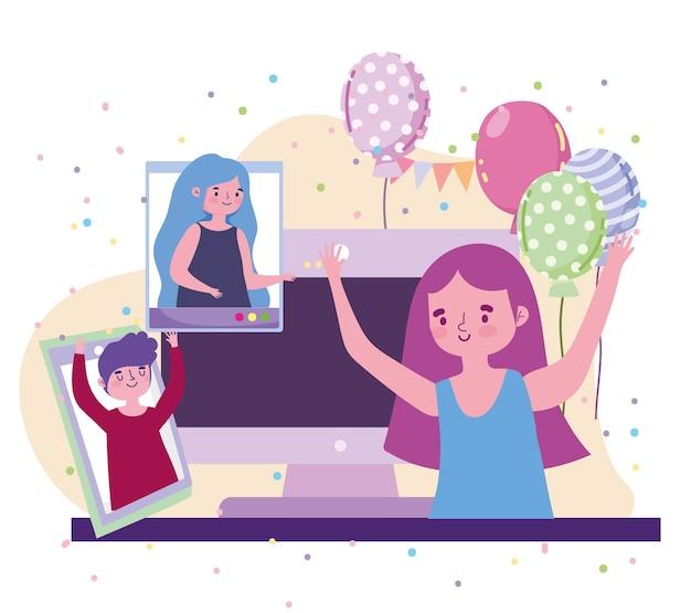 バーチャルパーティー、ビデオ通話のイラストで人々との女の子のお祝いイベント