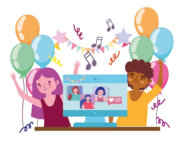 Virtual party, happy couple celebrating festive with people connected by computer  illustration