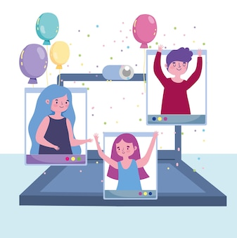Virtual party, people happy celebration festive with laptop  illustration