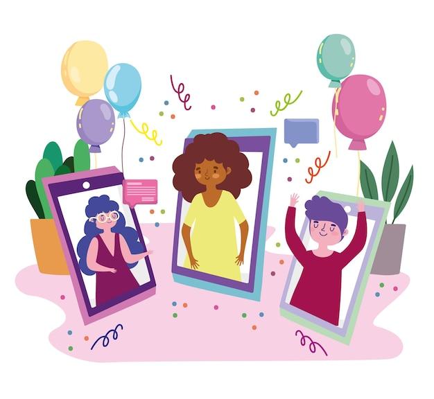 バーチャルパーティー、ビデオ通話の人々がイラストを祝うモバイル