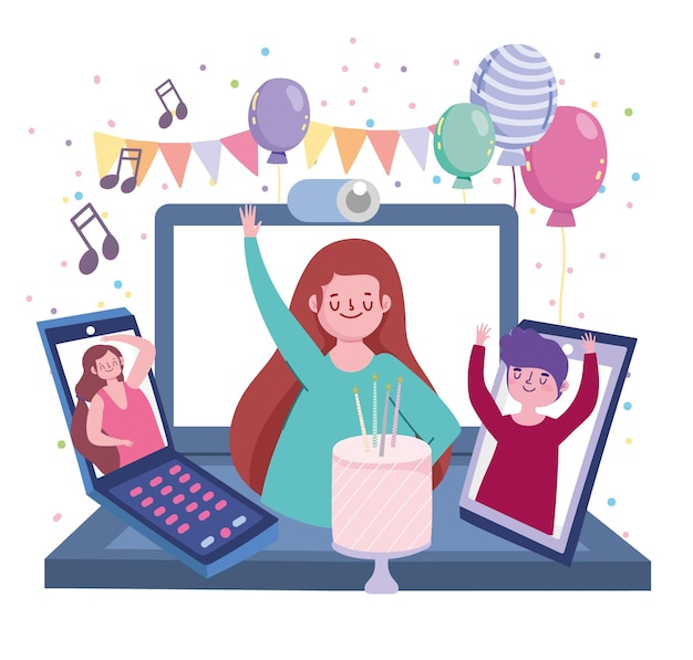 Virtual party, people on screen devices celebrating birthday  illustration