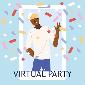 Virtual party with black man cartoon and confetti in smartphone design, happy birthday and video chat