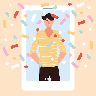Virtual party with man cartoon and confetti in smartphone design, happy birthday and video chat