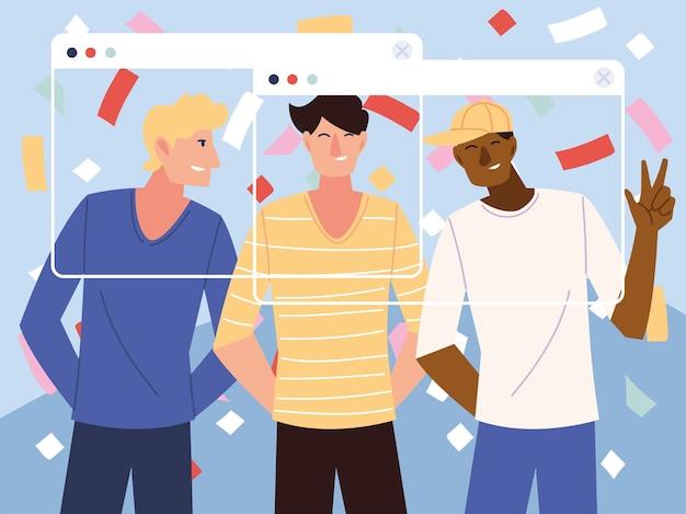 남자 만화와 화면 디자인의 색종이가있는 가상 파티
