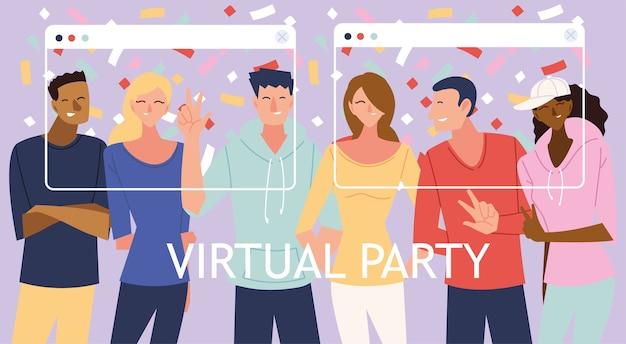 남성 여성 만화와 화면 디자인의 색종이가있는 가상 파티