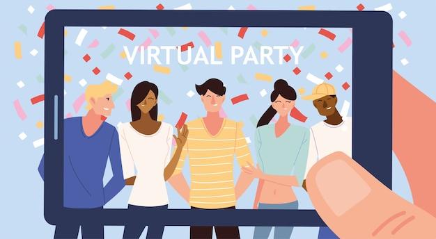남성 여성 만화와 스마트 폰 디자인의 색종이가있는 가상 파티