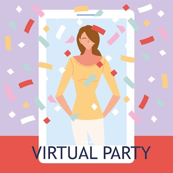 Virtual party with woman cartoon and confetti in smartphone design, happy birthday and video chat