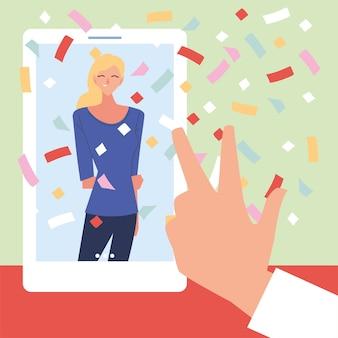 Виртуальная вечеринка женщина-мультфильм в смартфоне и дизайн руки мира любви, с днем рождения и видеочат