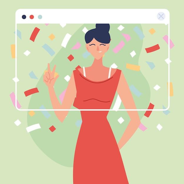Виртуальная вечеринка женщина-мультфильм с платьем и конфетти в дизайне экрана, с днем рождения и видеочатом
