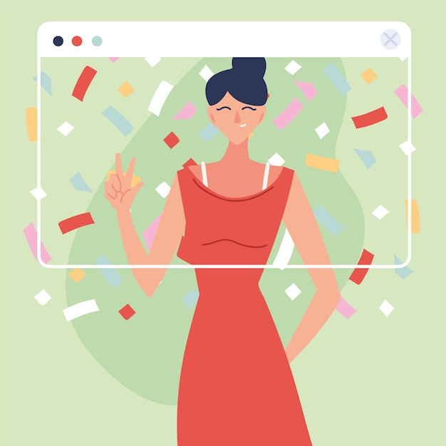 Virtual party woman cartoon with dress and confetti in screen design, happy birthday and video chat