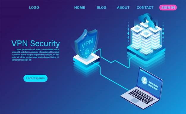 Технология безопасности виртуальной частной сети изометрической целевой страницы