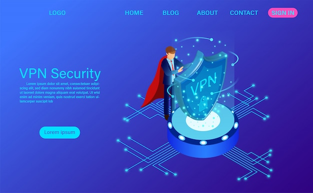 Virtual private network security technology isometric landing page