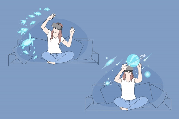 Virtual reality, ar technology, immersive experience concept