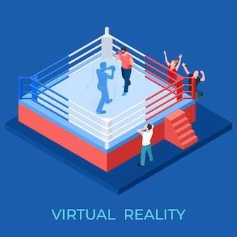 Virtual reality boxing match on isometric playground vector illustration