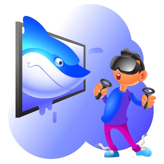 Virtual reality cartoon illustration shark popping out from the display