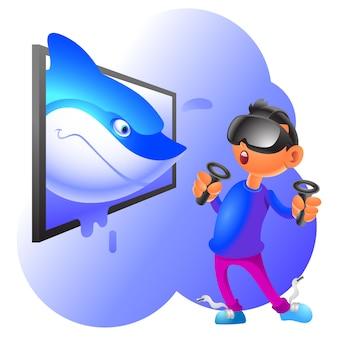 Виртуальная реальность карикатура иллюстрации акула выскакивает из дисплея