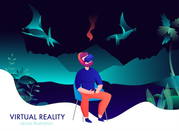 Virtual reality composition with man in goggles watching flying dinosaurs cartoon